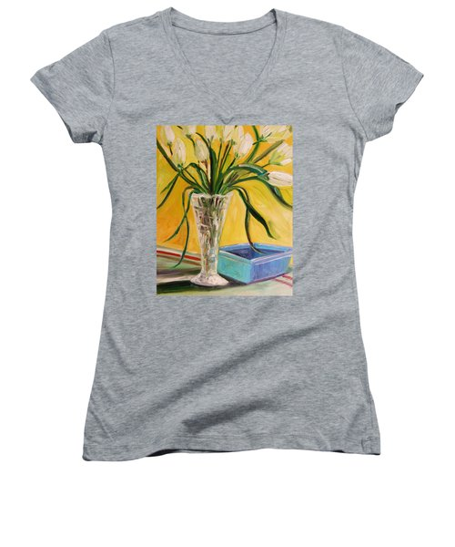White Tulips In Cut Glass Women's V-Neck T-Shirt