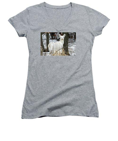 White Visitor Women's V-Neck T-Shirt