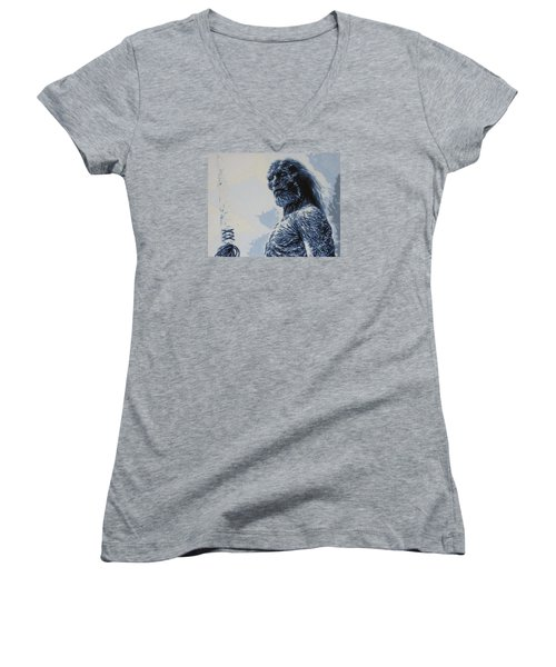 Women's V-Neck T-Shirt (Junior Cut) featuring the painting White Walker by Luis Ludzska