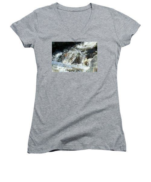Women's V-Neck T-Shirt (Junior Cut) featuring the digital art White Water by Barbara S Nickerson