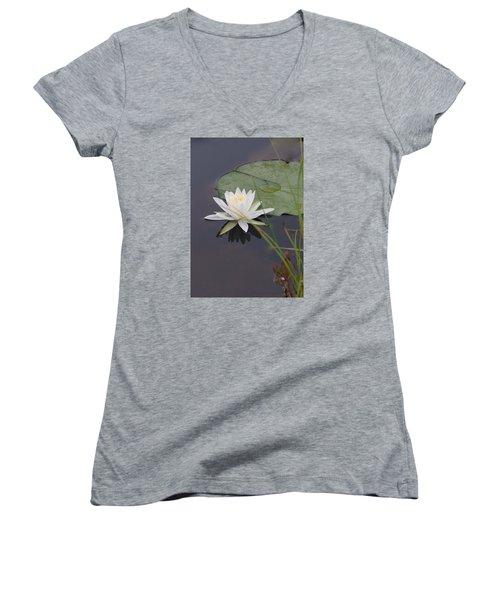 Women's V-Neck T-Shirt (Junior Cut) featuring the photograph White Water Lotus by Debra     Vatalaro