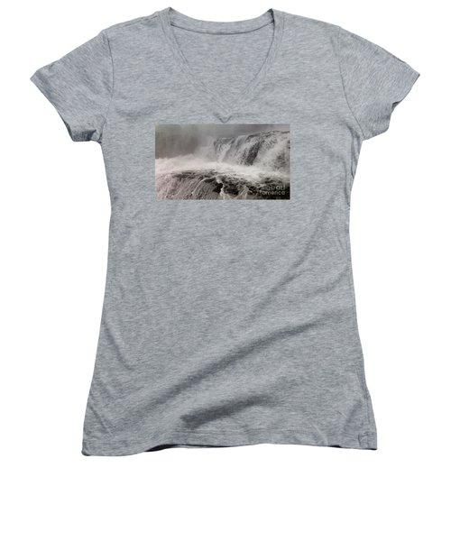 Women's V-Neck T-Shirt (Junior Cut) featuring the photograph White Water by Raymond Earley