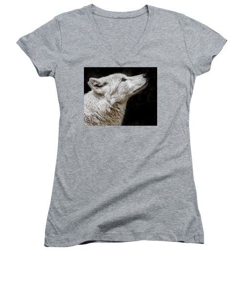White Wolf Women's V-Neck (Athletic Fit)