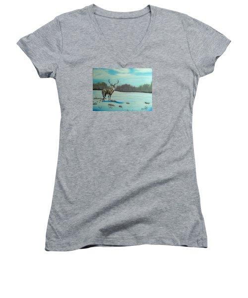 Whitetail Buck Women's V-Neck T-Shirt (Junior Cut) by Brenda Bonfield
