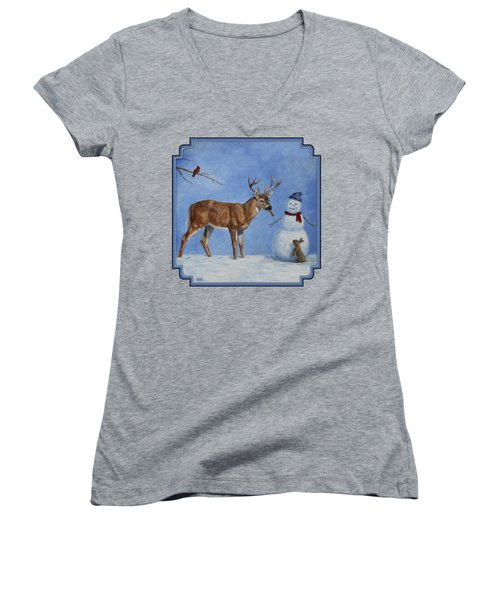 Whitetail Deer And Snowman - Whose Carrot? Women's V-Neck T-Shirt (Junior Cut) by Crista Forest