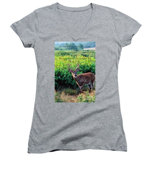 Women's V-Neck T-Shirt (Junior Cut) featuring the photograph Whitetail Deer Panting by Thomas R Fletcher