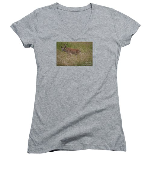 Women's V-Neck T-Shirt (Junior Cut) featuring the photograph Whitetail With Fawn 20120707_09a by Tina Hopkins