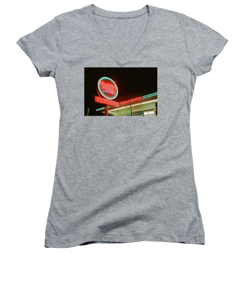 Whiz Burgers Neon, San Francisco Women's V-Neck