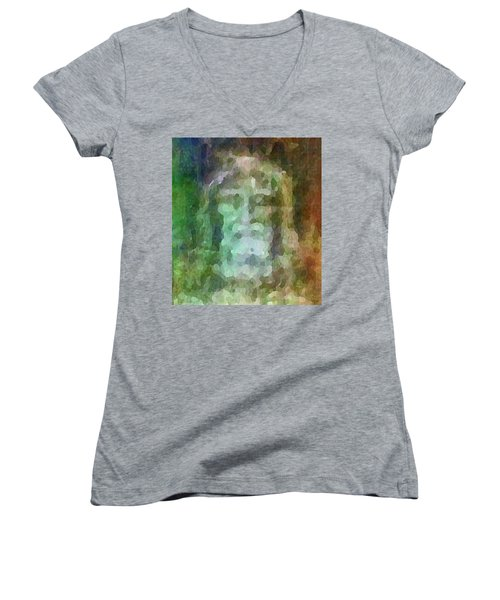 Who Do Men Say That I Am - The Shroud Women's V-Neck (Athletic Fit)