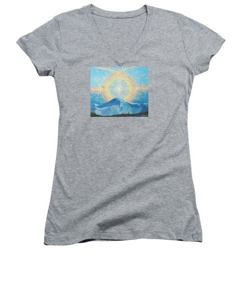Women's V-Neck T-Shirt (Junior Cut) featuring the painting Who Makes The Clouds His Chariot Fire Rainbow Over Alberta Peak by Anastasia Savage Ealy
