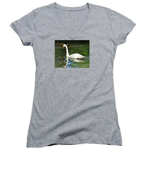 Whooper Swan Gratitude Women's V-Neck T-Shirt