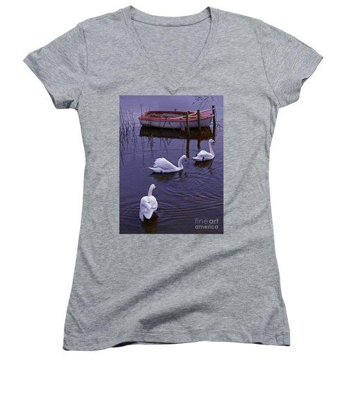 Whooper Swans On River Women's V-Neck