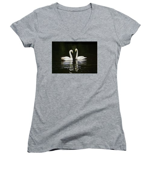 Women's V-Neck T-Shirt (Junior Cut) featuring the photograph Whooper Swans by Sandy Keeton