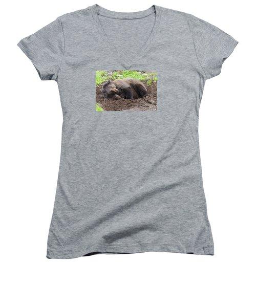 Whose Making Noise Women's V-Neck T-Shirt (Junior Cut) by Harold Piskiel