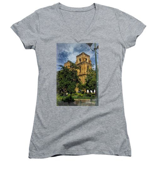 Women's V-Neck T-Shirt (Junior Cut) featuring the photograph Why Do I Live Here? II by Al Bourassa