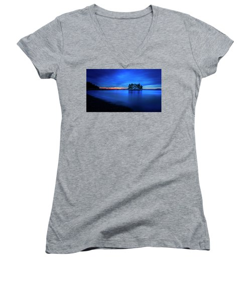 Women's V-Neck T-Shirt (Junior Cut) featuring the photograph Whytecliff Sunset by John Poon