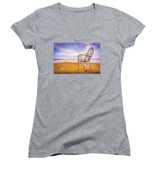 Wicker Chair Women's V-Neck