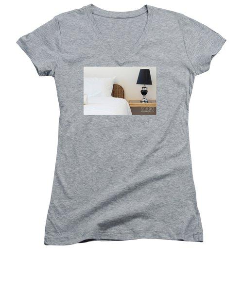 Women's V-Neck T-Shirt (Junior Cut) featuring the photograph Wicker Rattan Bed by Atiketta Sangasaeng