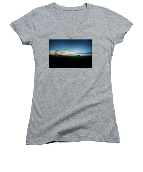Women's V-Neck T-Shirt (Junior Cut) featuring the photograph Wide Open Spaces by Shane Holsclaw