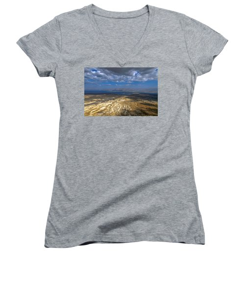 Wide View From Masada Women's V-Neck