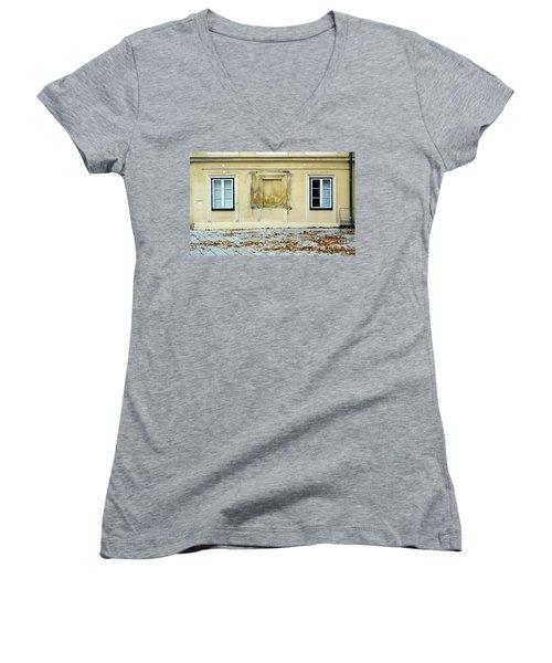 Wiener Wohnhaus Women's V-Neck T-Shirt (Junior Cut) by Christian Slanec