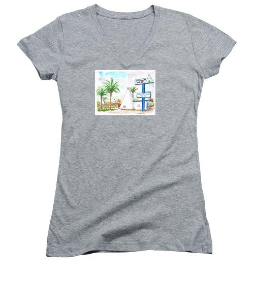 Wigman Motel, Route 66, San Bernardino, Ca Women's V-Neck T-Shirt (Junior Cut) by Carlos G Groppa