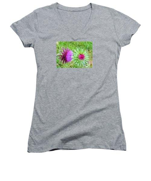 Wild Beauty In The Meadow Women's V-Neck T-Shirt (Junior Cut) by Jeanette Oberholtzer