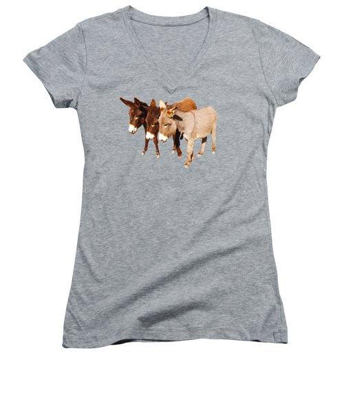 Wild Burro Buddies Women's V-Neck T-Shirt (Junior Cut) by Sandra O'Toole