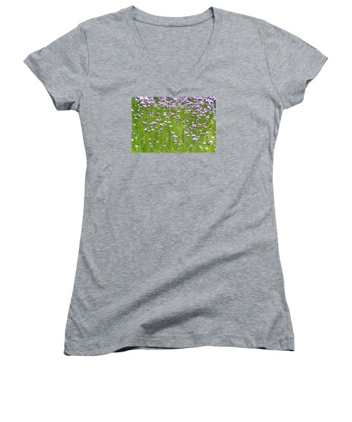 Women's V-Neck T-Shirt (Junior Cut) featuring the photograph Wild Chives by Chevy Fleet