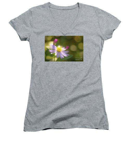 Women's V-Neck T-Shirt (Junior Cut) featuring the photograph Wild Chrysanthemum by Tatsuya Atarashi
