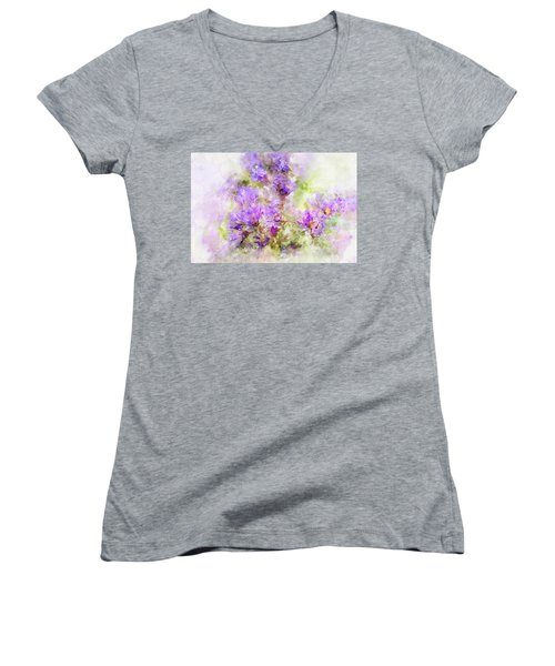 Wild Flowers In The Fall Watercolor Women's V-Neck