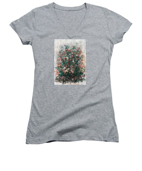 Women's V-Neck T-Shirt (Junior Cut) featuring the painting Wild Flowers by Laila Awad Jamaleldin