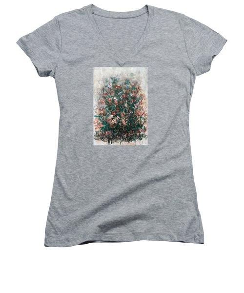 Wild Flowers Women's V-Neck T-Shirt (Junior Cut) by Laila Awad Jamaleldin