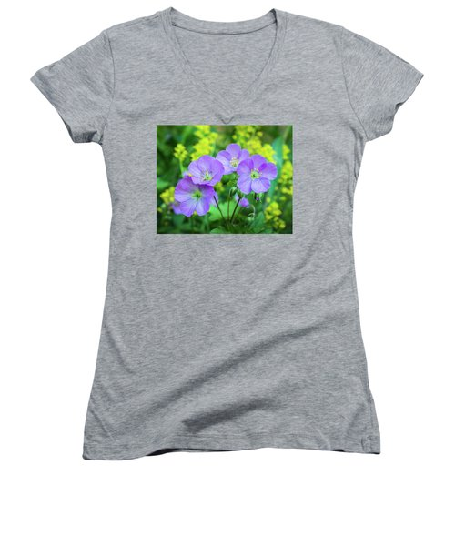 Wild Geranium Family Portrait Women's V-Neck