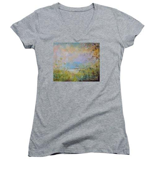 Wild Grasses Of Saugatuck Women's V-Neck T-Shirt