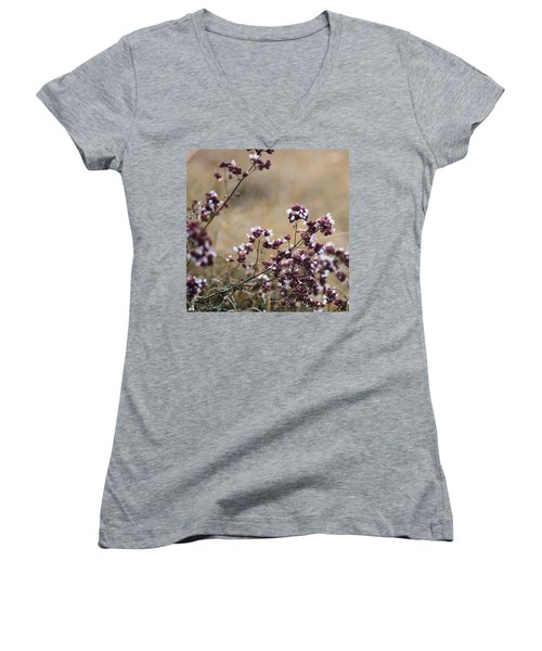 Wild Herbs  #herbs Women's V-Neck T-Shirt (Junior Cut) by Mandy Tabatt