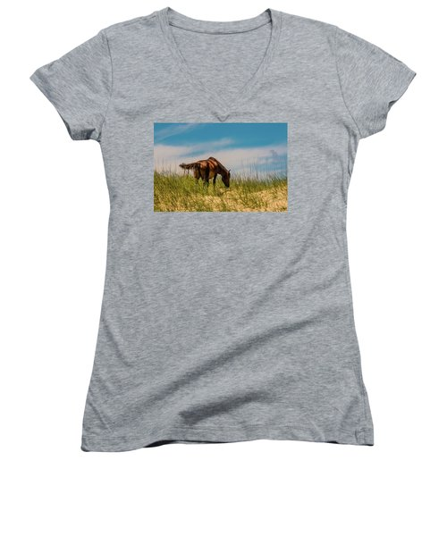 Wild Horse And Dragon Flies Women's V-Neck (Athletic Fit)