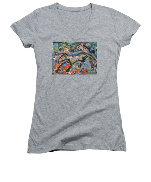 Women's V-Neck T-Shirt (Junior Cut) featuring the painting Wild Horses by Ellen Anthony