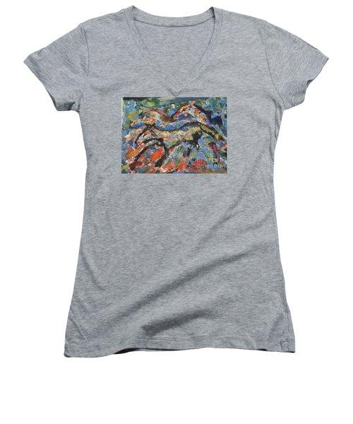 Wild Horses Women's V-Neck T-Shirt (Junior Cut)