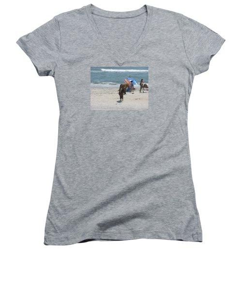 Wild Horses Women's V-Neck T-Shirt (Junior Cut) by Helen Haw
