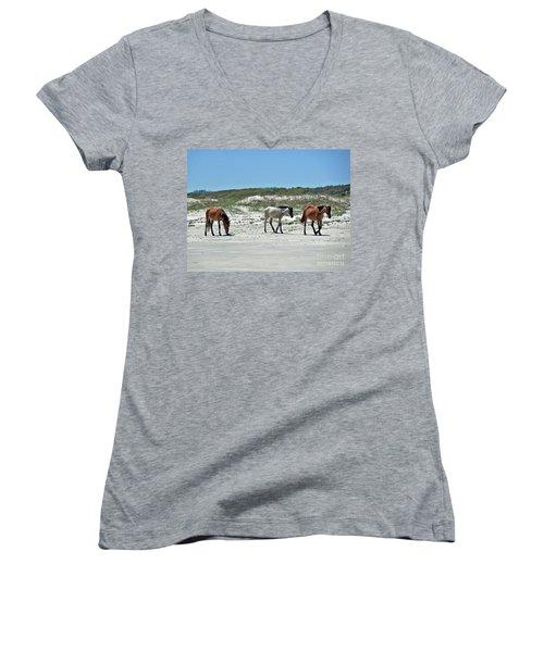 Wild Horses On The Beach Women's V-Neck