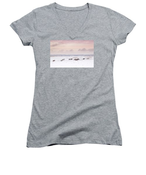 Wild Horses Out West Women's V-Neck (Athletic Fit)