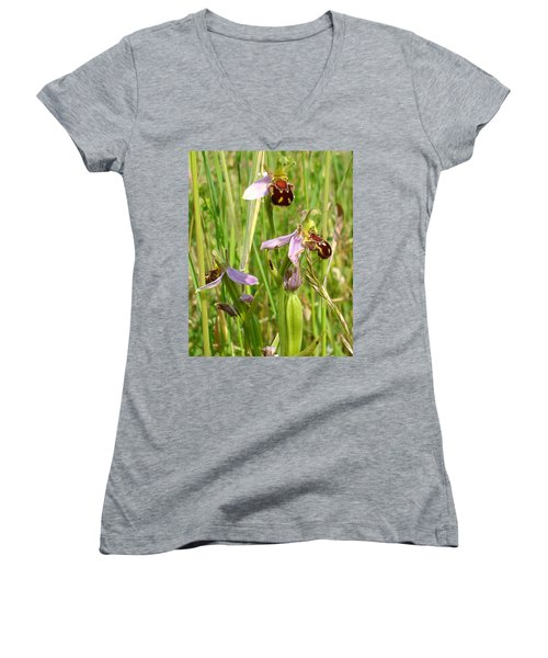Wild Meadow Bee Orchids Women's V-Neck T-Shirt