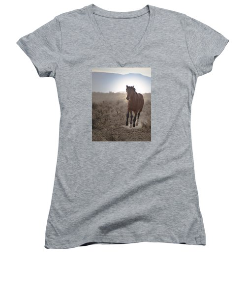 Wild Mustang Stallion Running Women's V-Neck (Athletic Fit)