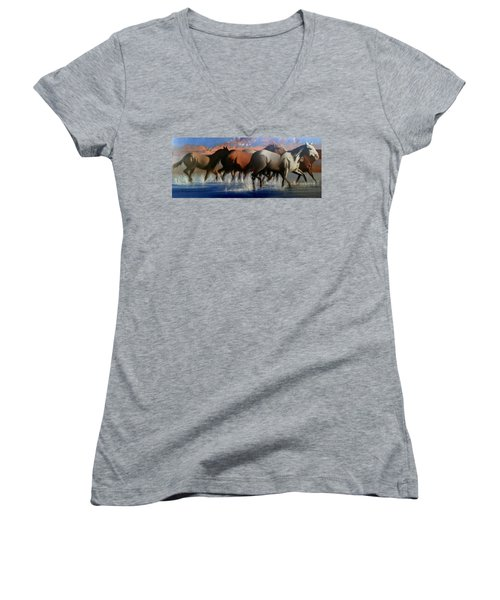Wild Mustangs Of The Verder River Women's V-Neck (Athletic Fit)