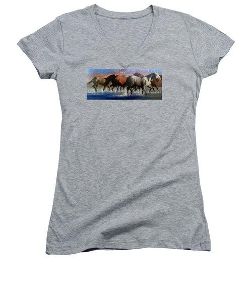 Wild Mustangs Of The Verder River Women's V-Neck T-Shirt