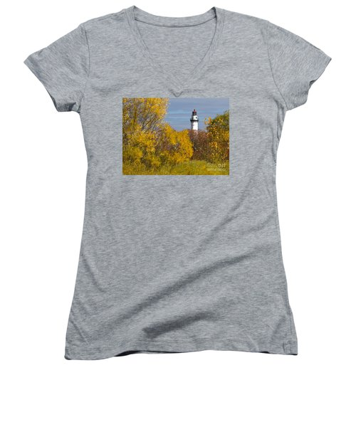 Wind Point Lighthouse In Fall Women's V-Neck