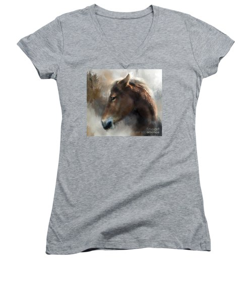 Wild Pony Women's V-Neck T-Shirt (Junior Cut) by Kathy Russell