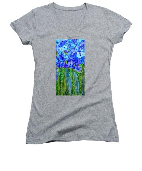 Women's V-Neck T-Shirt featuring the mixed media Wild Poppy Garden - Blue by Carol Cavalaris