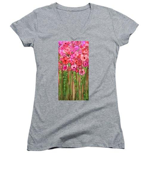 Women's V-Neck featuring the mixed media Wild Poppy Garden - Pink by Carol Cavalaris